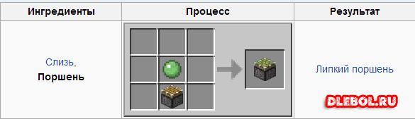 Липкий поршень Minecraft